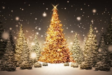 Stock image of a snowy field of Christmas trees with the largest in the center covered in gold ornaments.