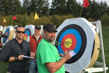 Victoria Bowmen members marking target scores at the outdoor range during 720/900 tournament on Oct 11 2015