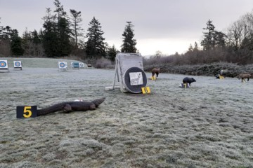 Longbow/Recurve 3D Flat Field Safari at Victoria Bowmen, February 9, 2020. A combination of 3D animals, bags and animal targets to make up a complete round on a flat field.